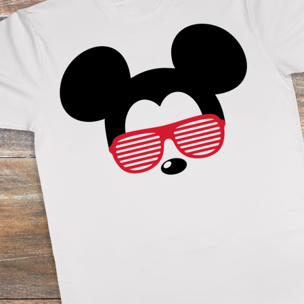 Mickey stays cool with his customized shirt and shades!